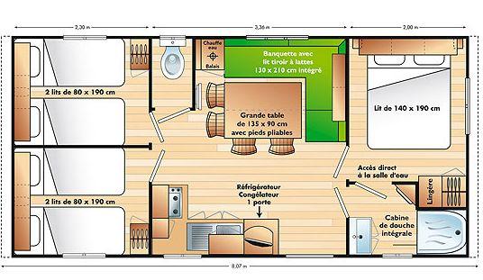 Chalet TV 6 pers. met 3 slaapkamers